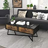 Fabric Coffee Table with Storage Lifewit Vintage Coffee Table, Industrial Cocktail Table, Sofa Table with 2 Fabric Storage Drawers for Living Room, Wood Look Decent Furniture with Metal Frame, Easy Assembly and Sturdy