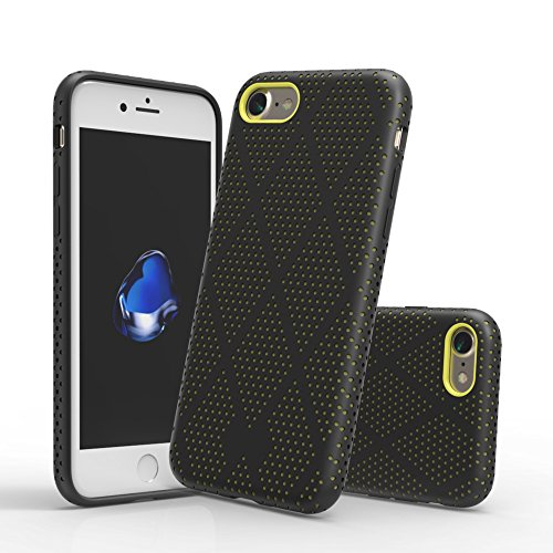 Marvotek Protective Case, iPhone 7 iPhone 8 Case Ultra-thin Rugged PC Hollow Cooling Hole Protecting Rubber Frame iPhone Case Black