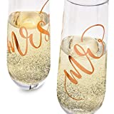 Juvale 2-Pack Rose Gold Glass Mr and Mrs Stemless
