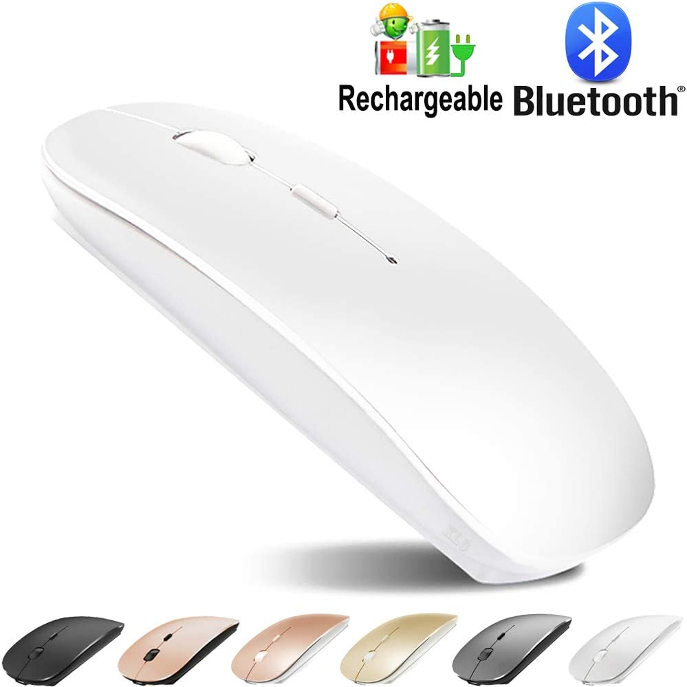 Bluetooth Mouse for MacBook pro/MacBook air/Laptop/iMac/ipad, Wireless Mouse for MacBook pro MacBook Air/iMac/Laptop/Notebook/pc (Bluetooth Mouse/B White)
