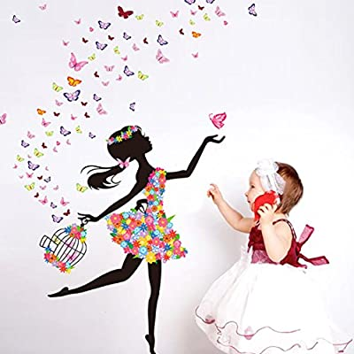 Gillberry New Butterfly Flower Fairy stickers Bedroom Living Room Walls