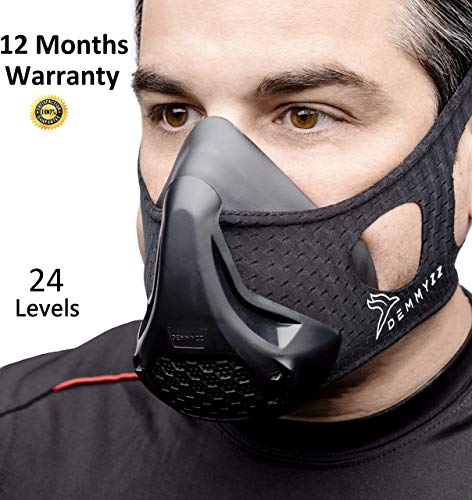 DMZ Workout Mask | Training Mask - High Altitude Masks | For Running, Breathing Oxygen Deprivation For Men and Women | For Gym Exercise, Sports, Fitness Cardio Runners 2.0 | 24 Levels Resistance
