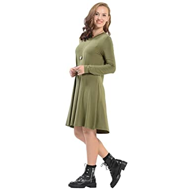 2f250821e4 Luyomy Women's Casual Long Sleeve Tunic Swing T Shirt Loose Dress Knee  Length O-Neck