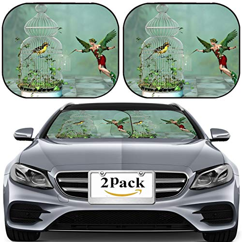 MSD Car Sun Shade for Windshield Universal Fit 2 Pack Sunshade, Block Sun Glare, UV and Heat, Protect Car Interior, Image ID: 20448046 a Fairy Freed a Bird Out of The cage 3D Computer Graphics