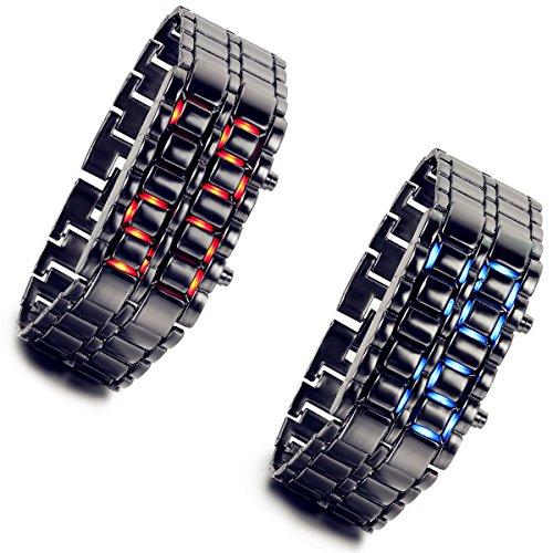 Lancardo Lava Style Iron Samurai Black Bracelet LED Inspired Digital Sport Watch Faceless (Pack of 2)