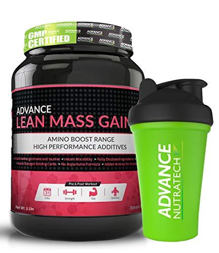 Advance Nutratech Lean Mass Gainer Supplement Powder- 2 Lbs (Rich Banana Cream)(Free Shaker)