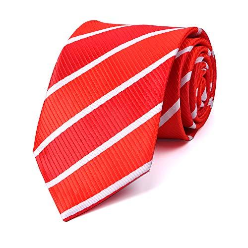- LUISDAN Stripe Tie Jacquard Woven Microfiber Formal Men's Neckties - Various Styles (Red&White)