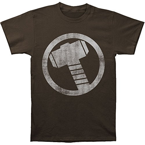 Thor (superhero) Men's Distressed Icon Slim Fit T-shirt Coal