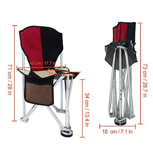 Geertop Folding Tripod Camping Chair Stool With Back Rest