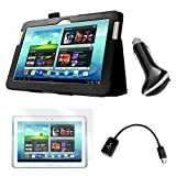 Black Folio Case with Screen Protector, OTG Cable, and Car Charger for Samsung Galaxy Note 10.1'' Tablet