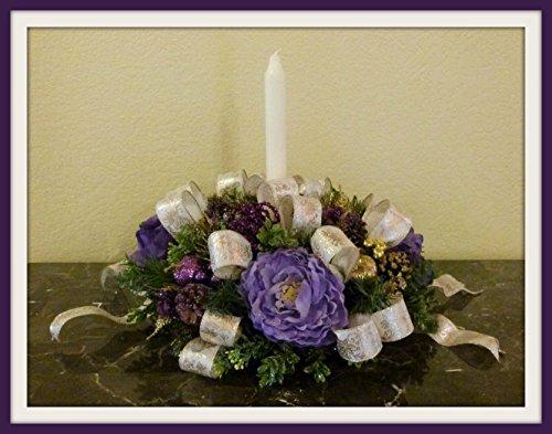 Handmade Purple Christmas Candle Centerpiece, Christmas Table Centerpiece,  Purple Christmas Candle Arrangement, Christmas Floral Arrangement For Tables