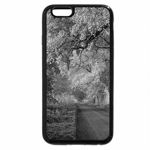 iPhone 6S Plus Case, iPhone 6 Plus Case (Black & White) - amazin frosty road in the countryside