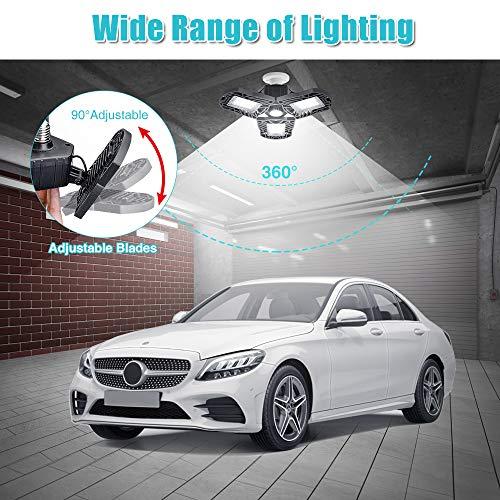 Deformable LED Garage Lights, SOLMORE 60W 6000LM Garage Lights Ceiling LED Garage Light Bulb 3 Leaf Garage Lighting E26 Screw Socket LED Shop Lights for Garage Basement Workshop (NO Motion Activated)