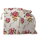 SuPoo 24 Pack Burlap Bags Drawstring Bags Gift Candy Jewelry Bags Rose Pattern Bags Linen Bags for Wedding Christmas