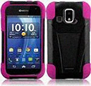 Black Hot Pink Hard Soft Gel Dual Layer Stand Cover Case for Kyocera Hydro XTRM C6721