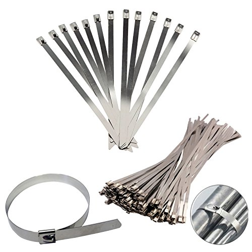 10 Pieces Stainless Steel Metal Cable Ties Zip Wrap Exhaust Heat Straps Induction Pipe (450MM)