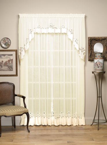 Today's Curtain Plymouth Classic Battenburg Applique Sheer Window Panel, 84-Inch, Ecru