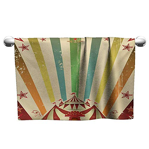 alisoso Vintage Rainbow,Face Towels Child Old Circus Carnival Advertisement Theme Stripes Stars and Fun Fair Tent Bath Towels for Kids Multicolor W 24