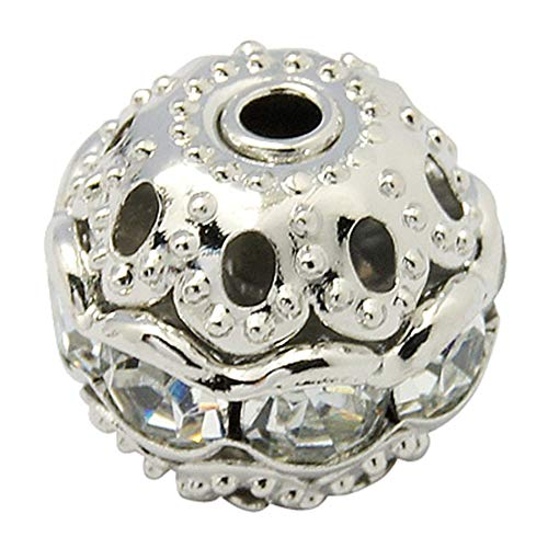 - PH PandaHall About 200 Pcs 8mm Brass Crystal Rhinestone Beads Charm Round Spacer Bead with Flower Cap for Jewelry Making, Platinum