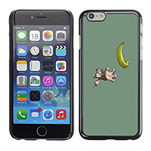 Carcasa Funda Prima Delgada SLIM Casa Case Bandera Cover Shell para Apple Iphone 6 / Business Style Funny Cute Banana Monkey
