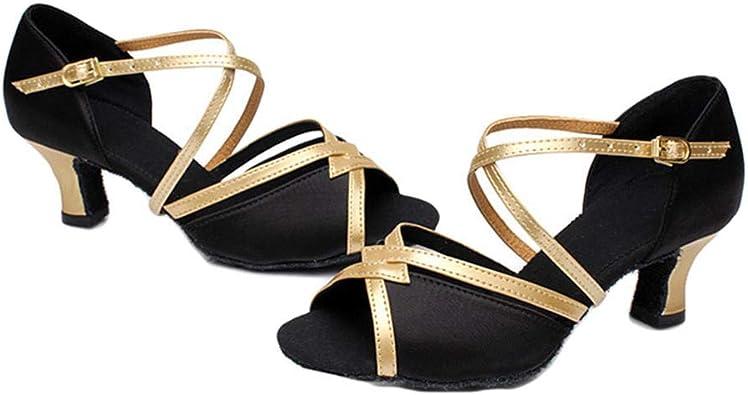 Women/'s Latin Dance Shoes Adult Square Dance Shoes Golden Color Medium Heel Shoe