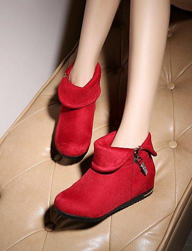 Azul Red Uk6 Punta us8 us6 Botas Sintético Tacón A Zapatos De Cuñas Ante Vestido Eu39 La negro Xzz Rojo Uk4 Redonda Mujer Cuña Dark Cn36 Eu36 Blue Casual Cn39 Moda FxU4gnn1w