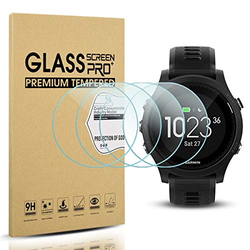 Diruite 4-Pack for Garmin Forerunner 935 Screen Protector Tempered Glass for Forerunner 935 [2.5D 9H Hardness] [Anti-Scratch] [Bubble-Free] - Permanent Warranty Replacement
