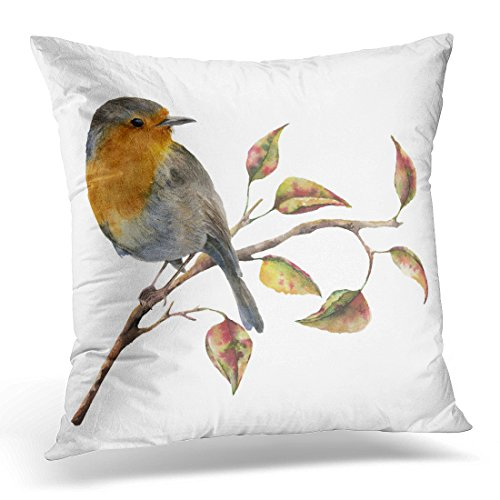 Sdamase Throw Pillow Cover Watercolor Robin Sitting on Tree Branch Red Yellow Leaves Autumn Bird Fall White Nature Decorative Pillow Case Home Decor Square 18