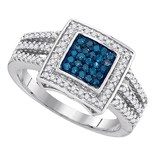 Roy Rose Jewelry 10K White Gold Ladies Blue Colored Diamond Square Cluster Open Shank Ring 1/2 Carat tw ~ Size 7 (Shank Ring Open)