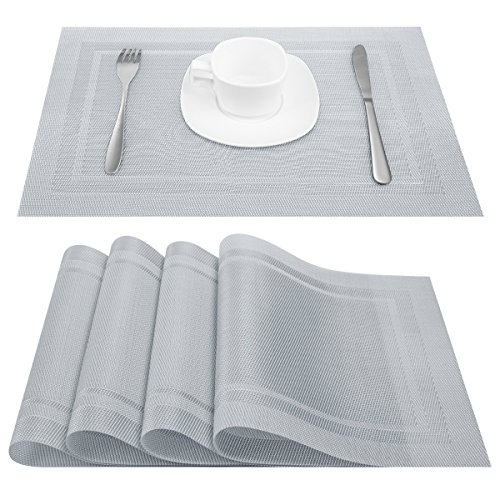 Artand Placemats, Heat-resistant Placemats Stain Resistant Anti-skid Washable PVC Table Mats Woven Vinyl Placemats, Set of 4 (Silver)