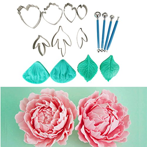 Garwarm 15pcs Set of Peony Flower Cutter Set Cake Decration Tool Fondant Cake Cutters Mold Sugarcraft Icing Decorating Flower Modelling Tools (Cut Peony Flowers)