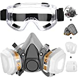 IVSUN Respirator Mask with Safety Glasses Half Facepiece Gas Mask Reusable Professional Breathing Eye Protection Against Dust, Organic Vapors, Pollen and Chemicals for Paint and DIY Projects