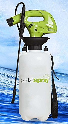 PortaSpray by MistOut, portable outdoor spraying system with spray wand, 8 L capacity and 12V lithium ion battery operated air compresor.