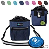 PetAmi Deluxe Dog Training Pouch with Shoulder/Waist Strap and Built-in Poop Bag Dispenser | Dog Treat Training Bag for Treats, Kibbles, Pet Toys | Collapsible Food/Water Bowl Included (Heather Navy)