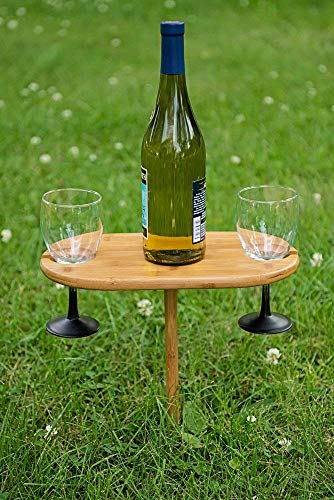 Premium In-Ground Picnic Wine Table & Rack by Clever Chef | Bamboo Wine Holder | Sturdy & Easy to Assemble | Holds 2 Wine Glasses