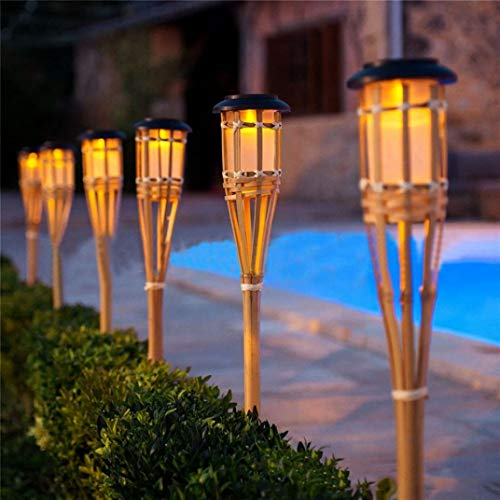 Fheaven (TM) 4Pcs Solar Outdoor Waterproof Lights bamboo Lamp Garden Pathways Yard Patio Christmas Lights decor