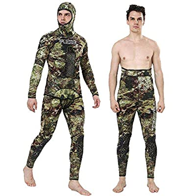 Flexel Camo Spearfishing Wetsuits Men Premium Neoprene Camouflage 2-Pieces Hoodie Freediving Fullsuit for Scuba Diving Snorkeling Swimming
