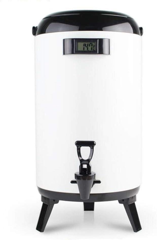 10L断熱バレルで蛇口、温度表示に便利に利用して商業大容量ミルクティーバケツコーヒーバレルスープバケツ、世帯ホテルキッチン朝食バケットアイスバケット沸騰水バケツ、 (Color : WhiteB, Size : 10L)