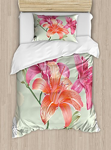 (Ambesonne Vintage Floral Duvet Cover Set Twin Size, Lily Flowers on Grunge Backdrop Gardening Plants Growth Botany, Decorative 2 Piece Bedding Set with 1 Pillow Sham, Pale Green Salmon Pink)
