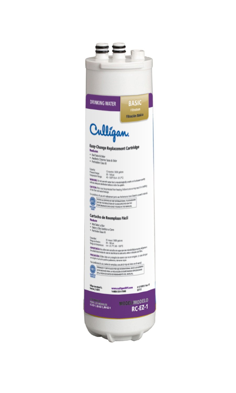 Culligan RC 1 EZ-Change Basic Water Filtration Replacement Cartridge, 3,000 Gallons, Multi