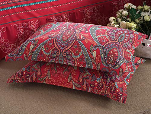 (TEALP Paisley Pillow Cases Damask Bohemian Pillow Shams Cushion Cover Bohemian Multi Colorful Pillow Covers Floral Decorative Ethnic Cushion Cover Standard Size Set of 2 100% Cotton Soft Red)