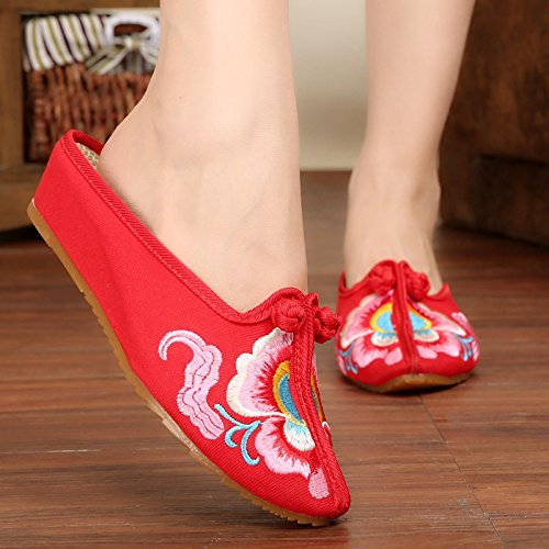 Red Oxfords canvas shoes Bottom Women embroidered cloth 7qvCpY