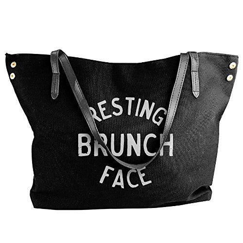 Capacity Canvas Resting Shoulder Black Bags Tote Women's Brunch Handbag Face Large Large anwxqFz