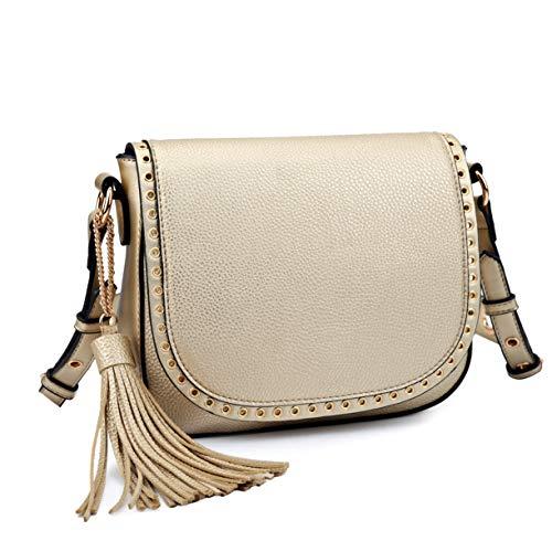 (Tassel Grommets Crossbody Bags for Women Designer Shoulder Purses Vegan Leather Messenger Bag)