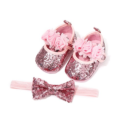 Kuner Baby Girls Christening Baptism Toddler Shoes Dance Ballerina Slipper with Bow Ribbon (Size3-Shoes length-12cm(6-12months), - Ribbon Pink Slippers