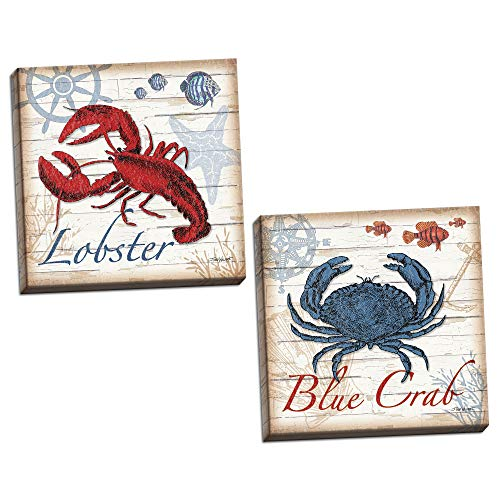 (2 Nautical Blue Crab and Red Lobster Prints; Coastal Decor; Two 16x16in Stretched Canvases; Ready to Hang!)