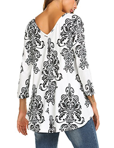 3/4 Sleeve Tunic Top - Naggoo Women's 3/4 Sleeve V Neck Printed Casual Loose Tunic Tops for Leggings Flare T-Shirts