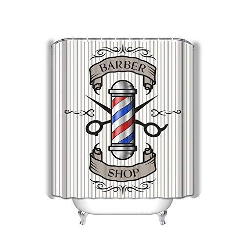 Xunulyn Beach Shower Curtain Barber Shop Emblem Pole Scissors Ribbon Text Old Vintage Style Option Color Modern Fabric Bathroom Decor 60 X 72 Inch -