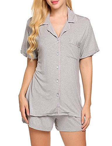 Ekouaer Women's Sleepwear Short Sleeve Pajama Set with Pj(Flower Gray, XL)