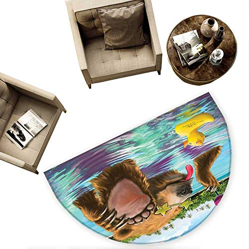 - Animal Semicircular Cushion Happy Fancy Wild Bear in The Sea by The Beach with its Sunglasses Candies Print Entry Door Mat H 63
